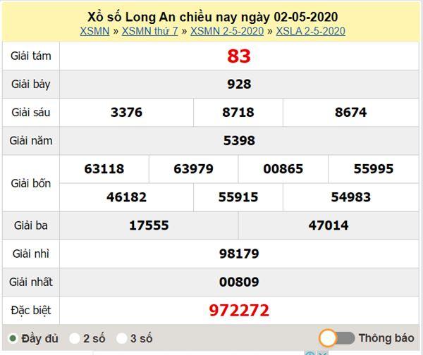 Soi cầu KQXS Long An 9/5/2020 - KQXSLA thứ bảy