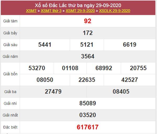 Soi cầu KQXS ĐăkLắc 6/10/2020 thứ 3 chính xác nhất
